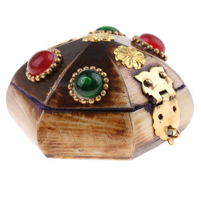 Tibetan Vintage Cattle Bone Jewelry Box Handmade Nepal Organizer Box 5.8x4cm