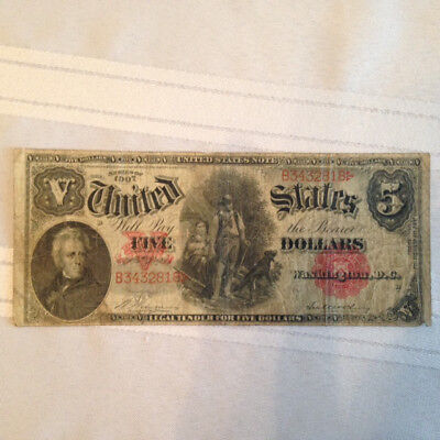 1907 $5 Five Dollar Bill ( Woodchopper ) United States Red Note