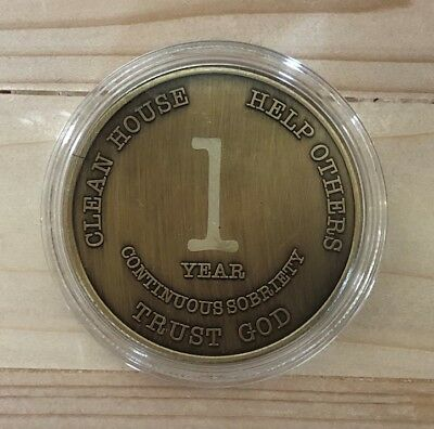 1 Year Bronze Alcoholics Anonymous Coin AA Medallion Bigger Design Free Shipping