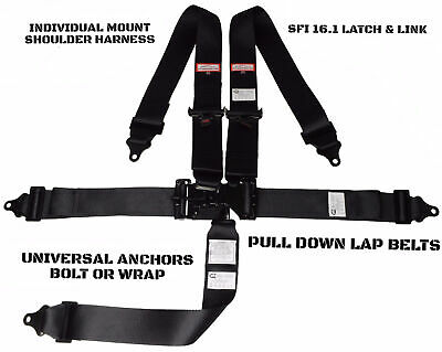 Off Road Pro 2 Racing Harness Sfi 16.1 Latch & Link Roll Bar Mount 5 Point Black