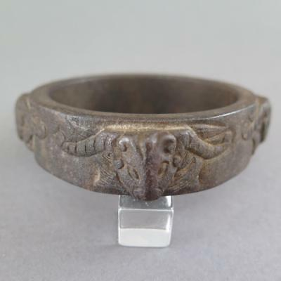 Fine Antique Archaic Chinese Iron Ram Head Or Bangle Cong [42]