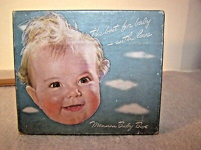 "Vintage Mennen Baby Box For Baby Powder & Lotions Empty 6 1/4"" X 5 1/4"" X 1 7/8"""