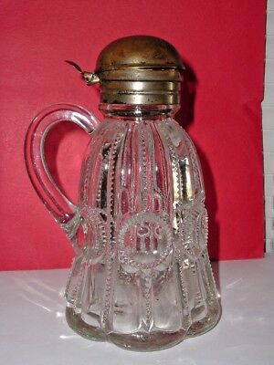 EAPG Antique Victorian Syrup Pitcher Molasses Can Jug CO-OP COLUMBIA FLINT GLASS