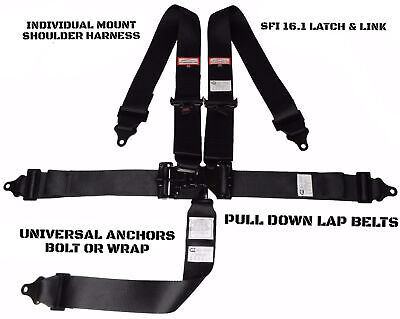 Super Gas Racing Harness Sfi 16.1 Latch & Link Roll Bar Mount 5 Point Black
