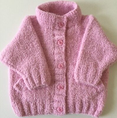 Super Soft Hand Knitted Jacket For Baby Girl 6-12 Months - Pink