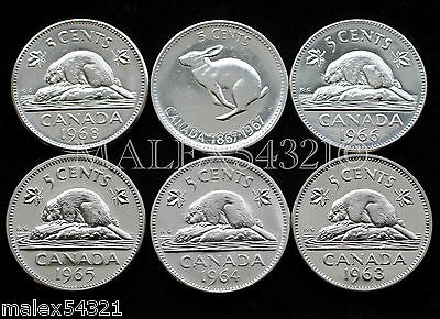 1963 1964 1965 1966 1967 1968 Canada 5 Cents Set Ms-63 (6 Coins)