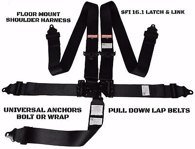 Murdered Out Latch & Link 5 Point Seat Belt Floor Mount Racing Harness Black