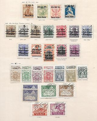 Poland stamps 1918 Collection of 36 stamps CANC/MLH VF HIGH VALUE!