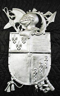 Hooded Knight with Fleur-Di-Lis,Plaque,Shield,Crest,Coat of Arms, Aluminum
