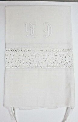 Antique  HANDWOVEN  and HAND EMBROIDERED MONOGRAM PILLOWCASE