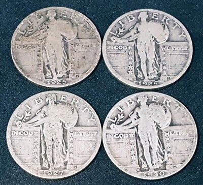 4x- Standing Liberty Quarters - $1 Face Value 90% Silver U.S Coins