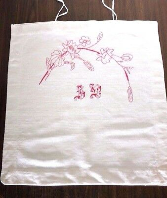 Antique HAND WOVEN, HAND EMBROIDERED with  MONOGRAM PILLOWCASE