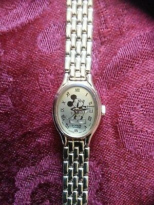 Womens Lorus Oval Gold Silhouette Mickey Mouse Watch