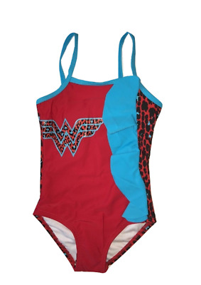 In Gear Wonder Woman Ruffle One Piece Swimsuit Animal Print 2T - 4T Girl Toddler