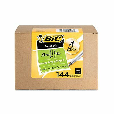 BIC Round Stic Xtra Life Ball Pen, Medium Point 1.0mm, Black, 144-Count