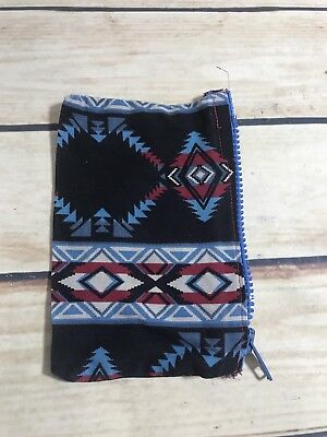 Small Coin Purse Pouch Aztec Style Print Zip Closure Blue Black Fabric
