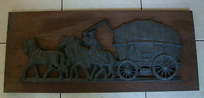 Vintage Metal Relief Detailed Picture Of A Higwayman And Carriage Mounted On Wo