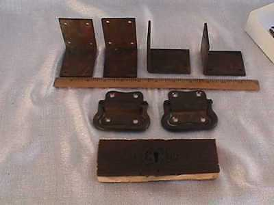 OLD VINTAGE BRASS HARDWARE OFF TOOLBOX, HANDLES,LOCK AND 4 CORNERS,uncleaned