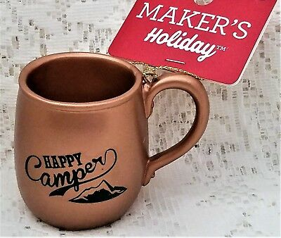 Happy Camper Cup Mug Holiday Christmas Ornament Resin Camping Rv