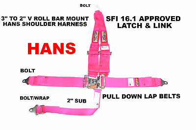 "Hans Racing Harness 5 Point Sfi 16.1 V Mount 3"" Latch & And Link Hot Pink Rdn"