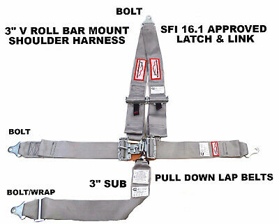 "Sfi 16.1 Racing Harness 5 Point V Mount 3"" Latch & Link Racerdirect.net Gray"