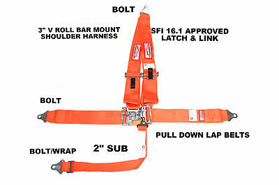 "Latch & Link 3"" Racing Harness Belt 5 Point Sfi 16.1 V Bar Mount Bolt In Orange"