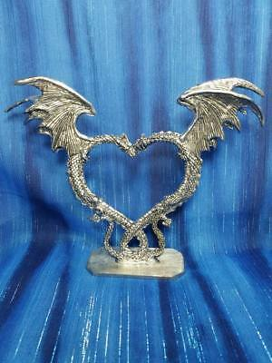 Dragon Heart Couple Pair Wedding Cake Topper Pewter Figurine Fellowship Foundry