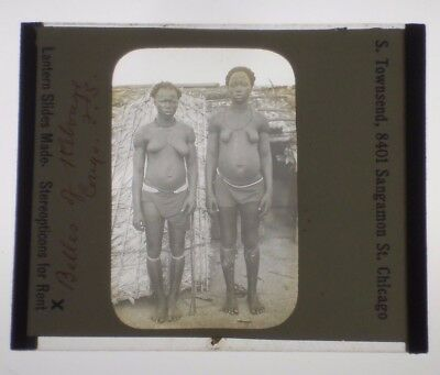 ORIGINAL VINTAGE late 1800s/early 1900s Glass Slide CONGO AFRICA Tribal Women #1