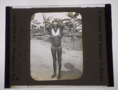 ORIGINAL VINTAGE late 1800s/early 1900s Glass Slide CONGO AFRICA Tribal Woman #2