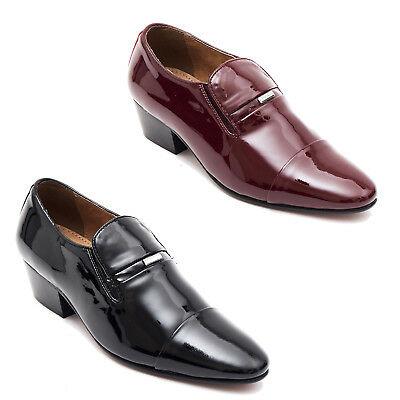 Mens Real Patent Leather Cuban Heel Pointed Formal Wedding Slip On Shoes