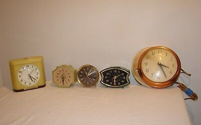 Vintage Alarm MCM and Art Deco Clocks Electric Parts Repair Lot