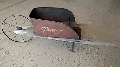 ANTIQUE Metal and Wood Tole Painted Child's Kids Children's Wheel Barrow