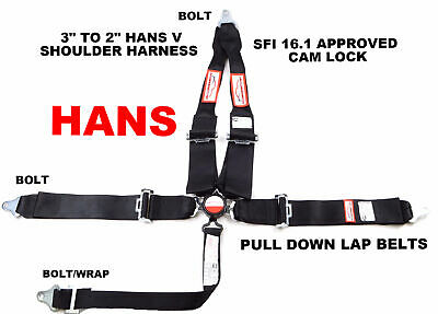 "Sfi 16.1 Racing Harness 5 Point Hans V Roll Bar Mount 3"" Cam Lock  Belt Black"