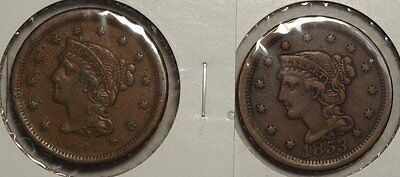 Pair of Large Cents, 1853 & 1854, Very Fine    1123-19