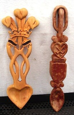 Welsh Love spoons wooden (two)