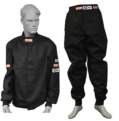 Race Suit Fire Suit 1 Layer Jacket & Pants Black 2 Piece Adult Large Dirt Oval