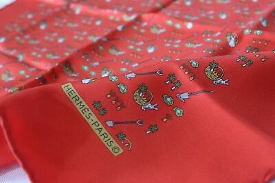 Rare & Pristine! HERMES Authentic Silk Pocket Square Gavroche Scarf Rabbits Red