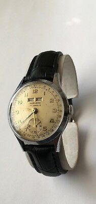 Vintage SEELAND Triple Date Calendar Watch 17 Jewels Swiss made Rare Fond Acier