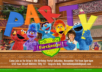 Sesame Street Invitation, Furchester Hotel Party, Elmo Birthday Invite