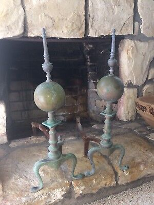 ANTIQUE Vintage BRASS or Copper & Cast Iron Fireplace ANDIRONS ~ Chippendale Old