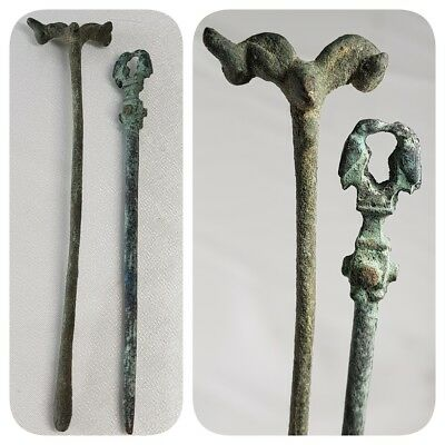 2 Rare Ancient Roman Bronze Hair Pins with Animals Heads Birds     # z2