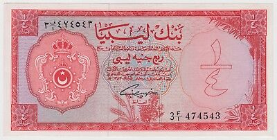 Libya Libyan Banknote 1/4 Pound 1963 P23a UNC Rare  King Idris Era First Issue