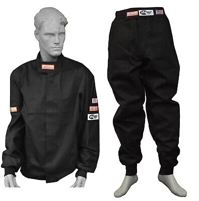 Race Suit Fire Suit 1 Layer Jacket & Pants Black 2 Piece Adult Xl Imsa Scca