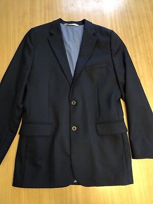 Nordstrom Boys Sports Coat Jacket Size 18 Wool Poly Blend W Cotton Lining Navy