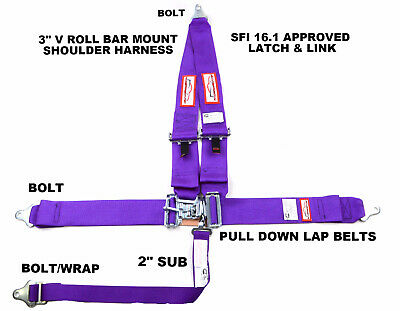 "Sfi 16.1 Racing Harness 5 Point V Roll Bar Mount 3"" Latch & Link Purple"