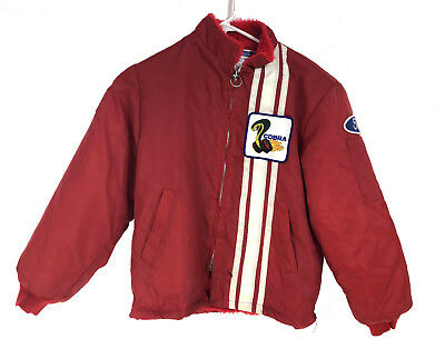 Vintage Ford Cobra Shelby Mustang Red Lined Racing Jacket Childs Medium USA MADE