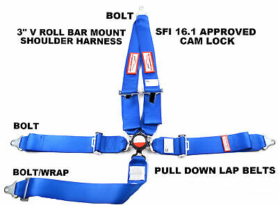 "Sfi 16.1 Racing Harness 5 Point V Roll Bar Mount 3"" Cam Lock Seat Belt Blue"