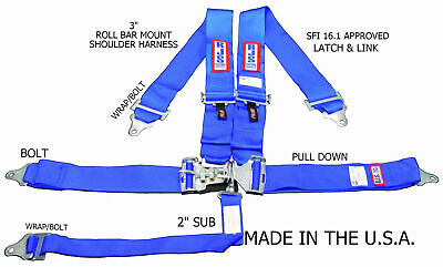 Rjs Racing Equipment Sfi 16.1 Safety Seat Belt Harness Blue 50502-18-06-3