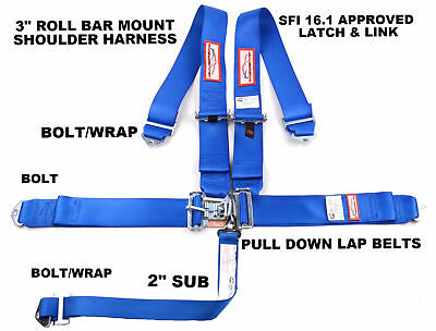 "Racing Harness 5 Point Sfi 16.1 Roll Bar Mount 3"" Latch & Link Blue"