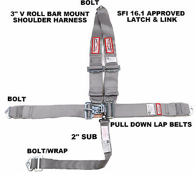 "Racing Harness Sfi 16.1  5 Pt V Roll Bar Mount 3"" Latch & Link Gray Or Any Color"